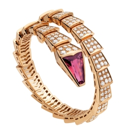 Bulgari Bracelet SERPENTI 18kt rose gold with pave diamonds.