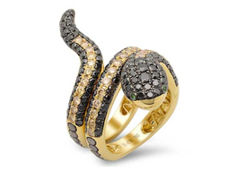 18kt gold Demarco snake ring with black and yellow diamonds ($10,800).