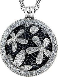 My iMenso diamond flower coin pendant